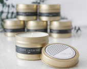 Gold Tin IZU (Cape Jasmine) Scented Soy Candle with Custom Pouch - Gift