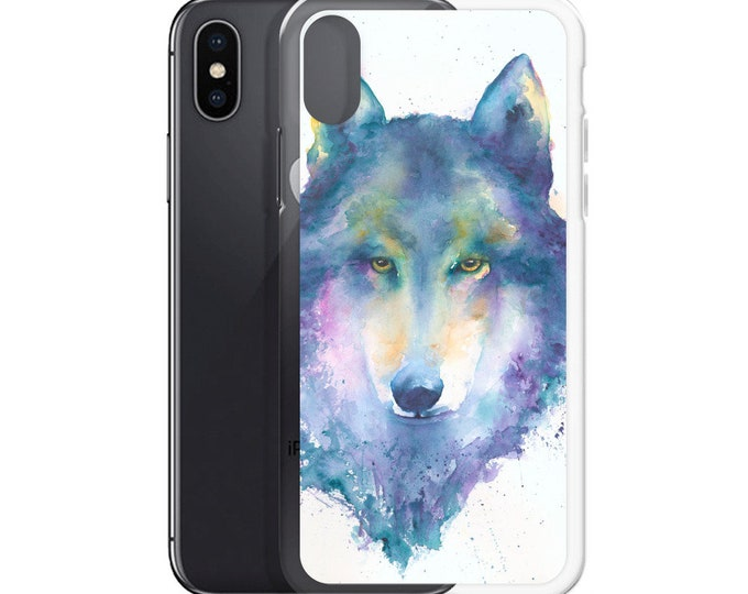 Wolf Watercolor Colorful Art iPhone Case