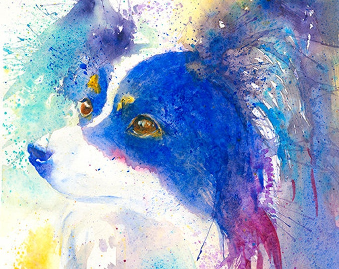 Papillon Dog Art Print Papillon dog painting dog Portrait Dog Painting Pet lover gift Dog lover gift watercolor dog colorful dog decor blue
