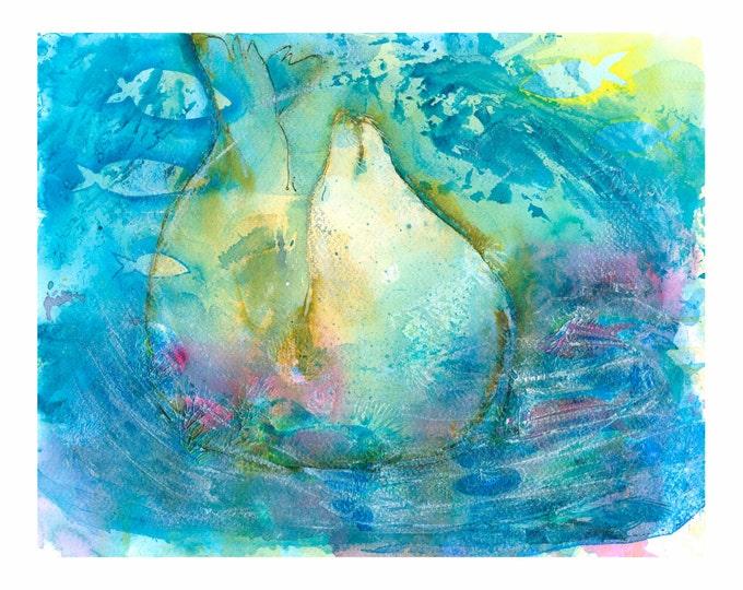 Seal  Fine Art  Print/ watercolor seascapes /watercolor wildlife print/Wildlife Painting / ocean animal /sea life/ art/ art original