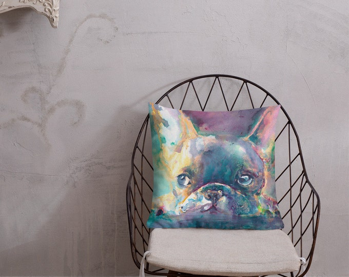 French Bulldog Art  Throw Pillow