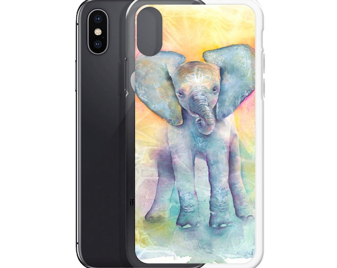 Cute Baby Elephant Colorful Watercolor iPhone Case