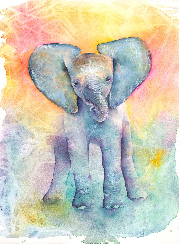 Elephant Art: Elephant Print baby Elephant Art Elephant | Etsy