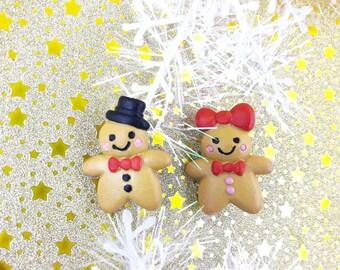 Brooch Madame Gingerbread Man gingerbread fimo Noel polymer paste