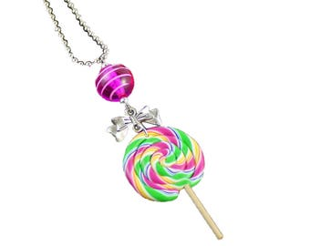 LOLLIPOP - Necklace delicious multicolored lollipop - necklace - girl gift - lollipop candy necklace