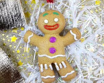 Suspension Sapin Tit biscuit Gingy Decoration fir Ball pate polymer fimo Christmas gift goumand Gingerbread Man gingerbread gingerbread