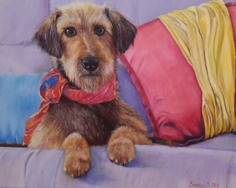 Oil painting dog Oil painting dachshund Dog on the couch Oil painting dog in pillows Picture of a pet Dog painting Pet portrait Favorite dog