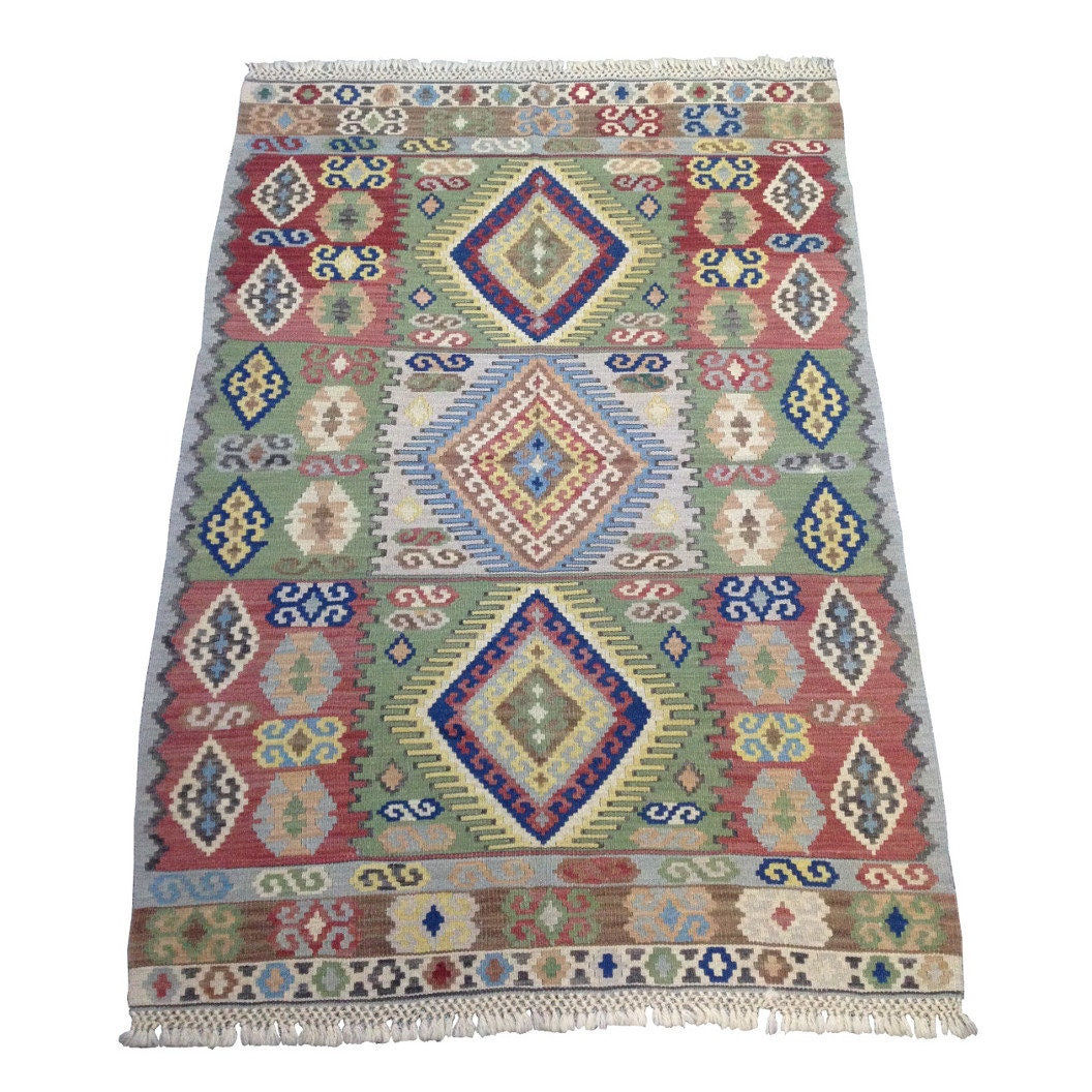 Bohemian Rug Vintage Kilim With Boho Chic Design And