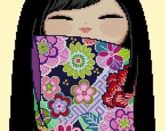 Happy Kokeshi Doll 06 MAAYA - Cross Stitch PDF Pattern