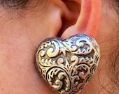Silver Tone Heart Shape Clip On Earrings