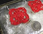 Red Hand Made Crochet Ear...