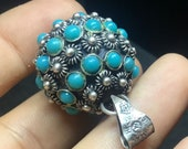Vintage Sterling Silver Cabochon Turquoise Ball Pendant / Snake Eye Ball