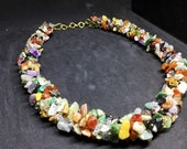 Crystal Chip Necklace. Mixed Crystals