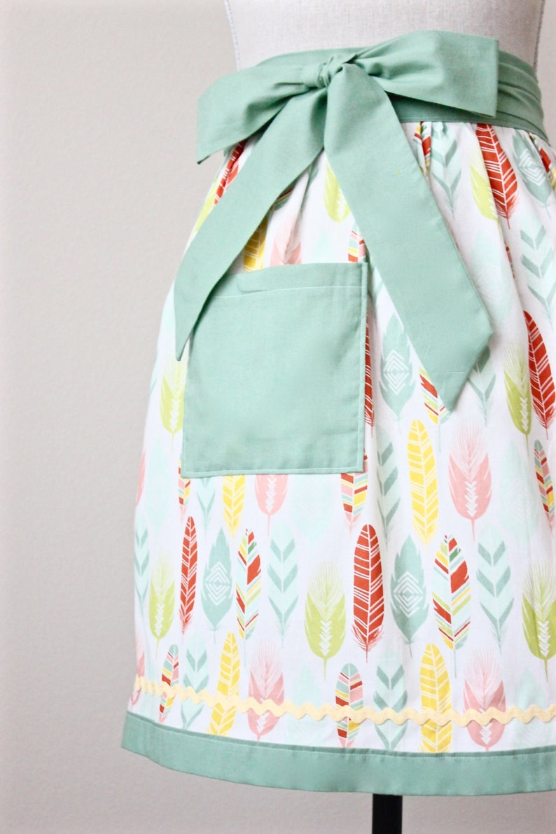 Feathers Womens Kitchen Half Apron Sage Orange and Yellow Feather Fabric Print