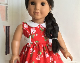 """American.Girl doll dress, Party dress, Classic dress 18"""", Optional shoes, Fancy dress, Collar, Sash, Fits like American 18 Girl doll clothes"""