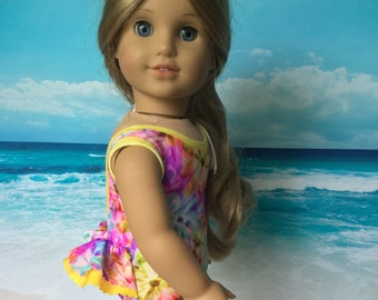 Girl doll bathing suit, swimsuit, yellow trim, beach wear, swimming, Tushie ruffle swim suit, Fits like American.Girl doll clothes