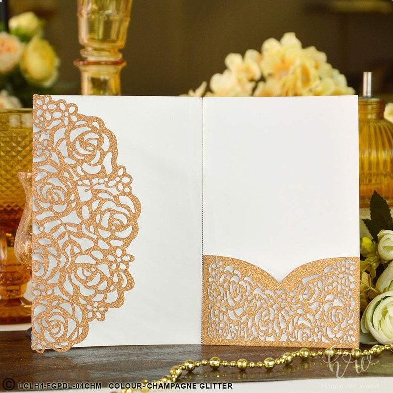 Laser Cut Wedding Lilac Glitter Invitation Bands Belly Band Floral Pockets