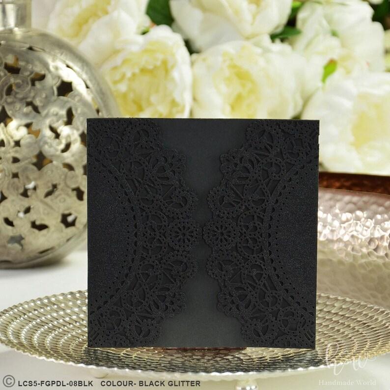Laser Cut Invitation Black Glitter Pocket Wedding Metallic Silver Cards Love Birds