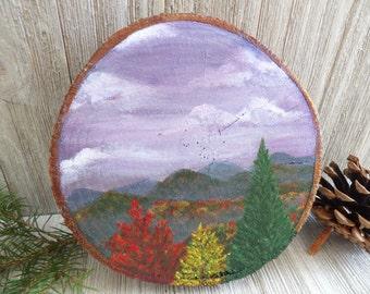 Mountain Scene Wood Slice Painting - Blue Ridge Mountains - Mountain Scene Art - Mountain Art on Wood - Hand Painted Wood - Wood Slice Art