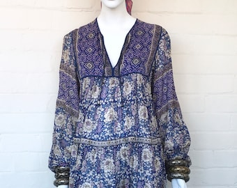 Vintage 70's Indian Dress / India Boho Cotton Gauze Dress / Ethnic Floral Hippie Bohemian Festival Tent Midi Dress