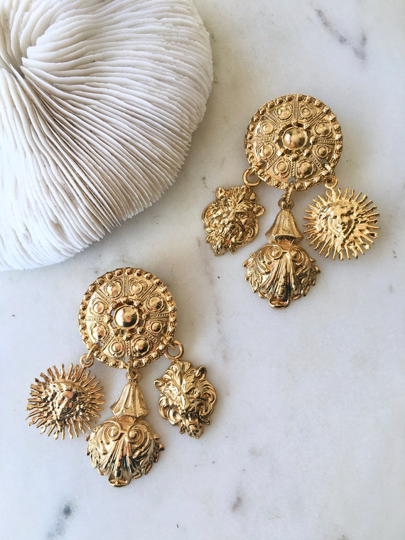 Large Statement Ornate Gold Dangle Earrings / Ove… - image 2