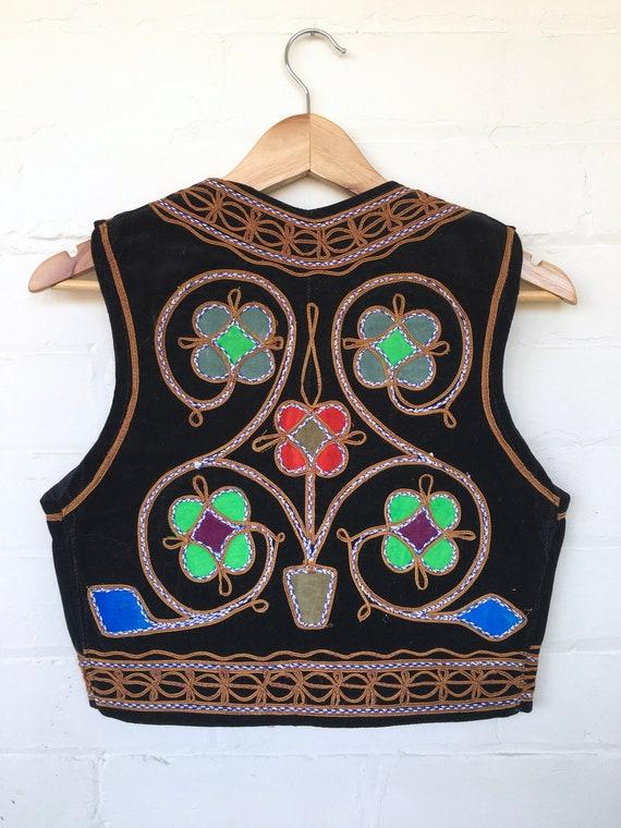 Vintage 60s 70s Black Velvet Embroidered Afghan Ve