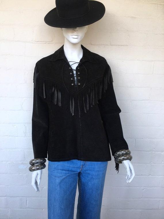 Vintage 70s fringe suede western hippie boho shirt