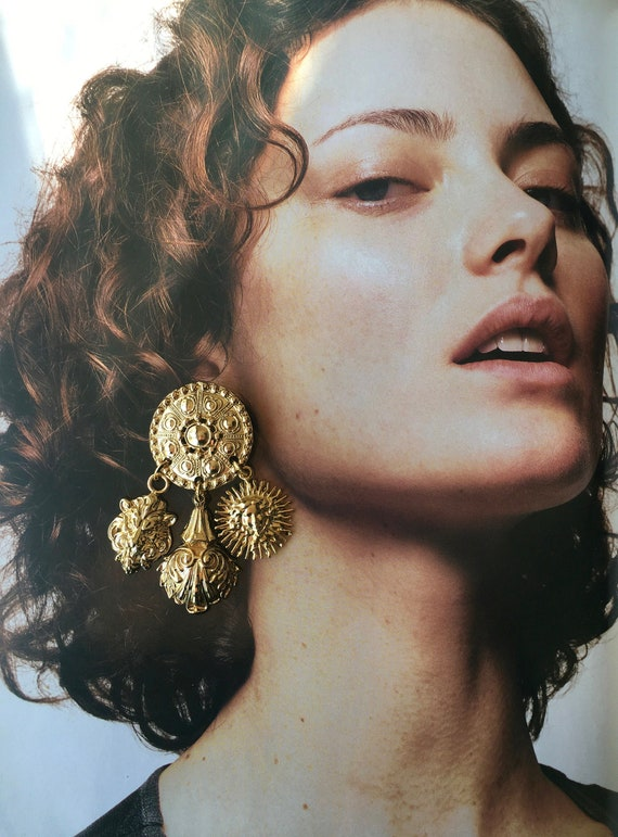 Large Statement Ornate Gold Dangle Earrings / Ove… - image 3