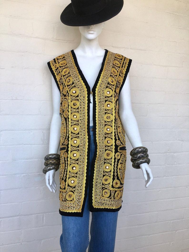 Vintage Embroidered Indian Afghan Velvet Vest Duster  Ethnic Festival Hippie Woodstock Gold Thread Boho Gypsy waistcoat