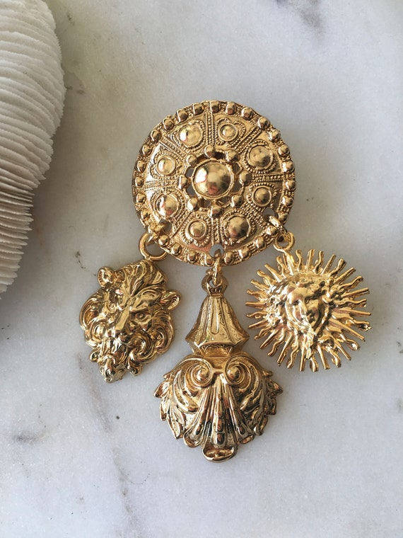 Large Statement Ornate Gold Dangle Earrings / Ove… - image 4