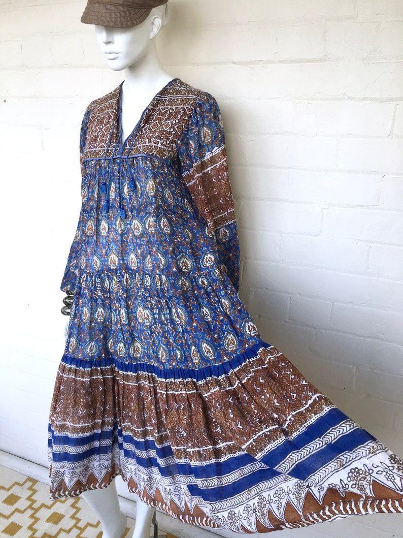 322da1f0e Vintage Indian Gauze Dress   70s India Boho Cotton Gauze Dress