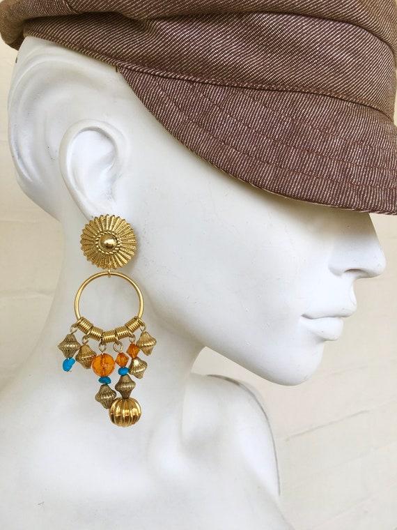 Vintage Ornate Dangle Drop Earrings / Boho Tribal