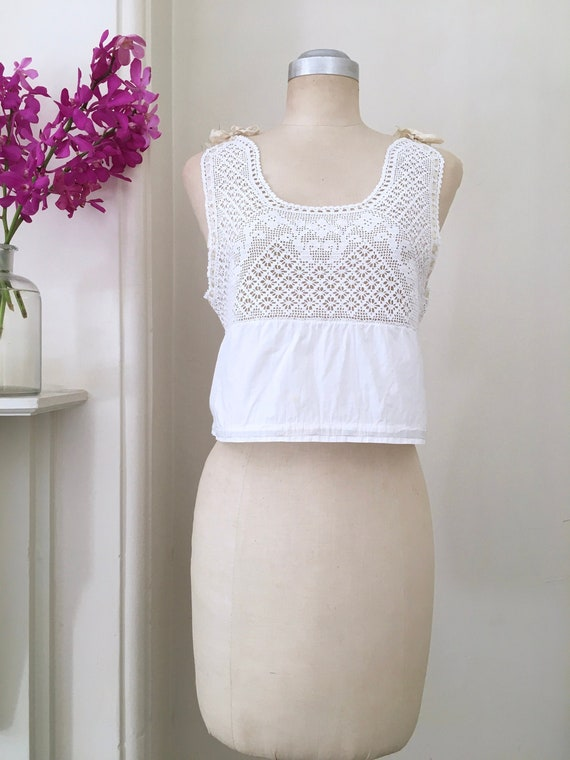 Vintage Edwardian Crochet Cotton Top / Antique Whi
