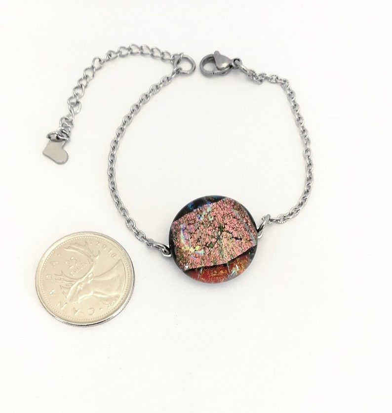 all in 6 12 in. Multicolor Golden pink Dichroic Glass adjustable bracelet 16.5 cm. 21.8 cm. stainless steel a 8 12 in.