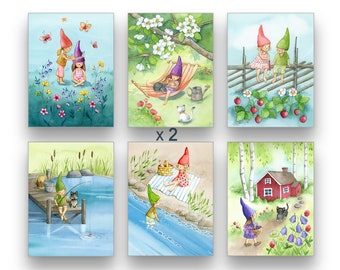 Postcard Pack of 12 / 24 Cards Set Finland Illustration Finnish art Postcards from Finland Set of 12 / 24 Watercolor Cards