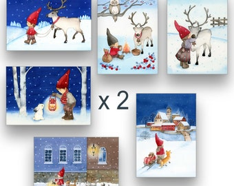 Finland Postcard Pack of 12 / 24 Cards Holiday Card Set Suomi Finland Scenery Set of 12 / 24 / 30 watercolor cards Elves Art