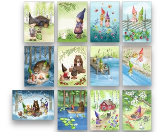 Elves Finland Postcard Set of 12 / 24 Cards Set Finland Illustration Finnish art Postcards from Finland Watercolor Cards Elves Art