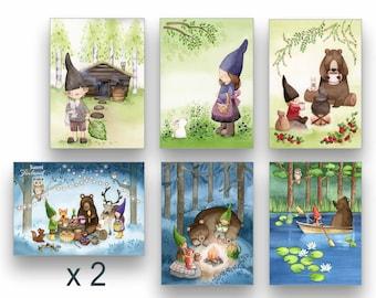 Forest Elves Pack of 12 or 24 Cards Postcards Set Finland Illustration Card Sets Finland Postcard Set of 12 / 24 Watercolor Cards Elves Art