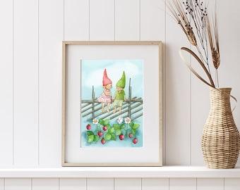 Nursery Print Finnish Art Wild strawberry art Kids Room Wall Decor Aquarelle Print Elves Art