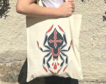 "Tote Bag ""Black Widow"" - Spider totebag, handpainted, insects, spiders, araña, bolsa, shopping, tattoo, ink, grunge, alternative, dark, goth"