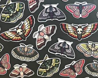 Moth Sticker Pack - Moths, Skull moth, Death's Head Moth, animals, insects, skull, creepy, tattoo, grunge, hipster, alternative, nature