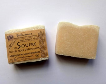 Savon au soufre du sel noir d'Himalaya, peau à problème, aux ingrédients bio et naturels.