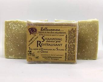 Shampoing solide au soufre bio Revitalisant Ortie - Sel Guérande ou noir Himalaya Beurre karité et cacao Cheveux gras, démangeaisons