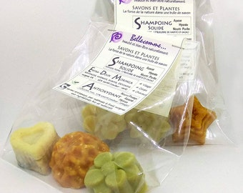 Set 2 organic and natural soaps and 1 solid shampoo Hibiscus, Ylang, cocoa butter, Antioxidant Soap, Moringa or Marshmallow