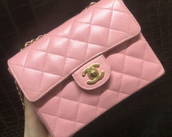 authentic chanel vintage rare pink caviar mini classic flap crossbodybag