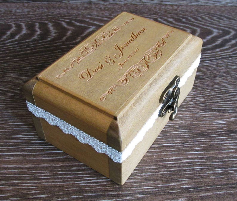 Wedding Ring Box  Ring Bearer Box Personalized box Wedding image 0