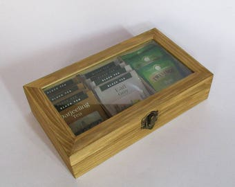 Wooden tea box with glass display Wooden box tea storage  Jewelry box  storage box  jewelry storage light oak color