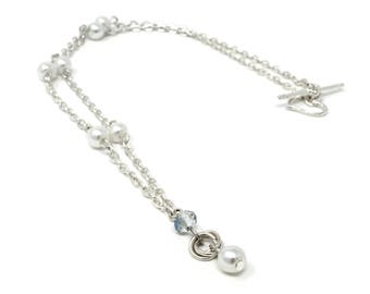 Silver Chainmaille Necklace, Blue/Clear, Chainmaille Necklace, Mobius