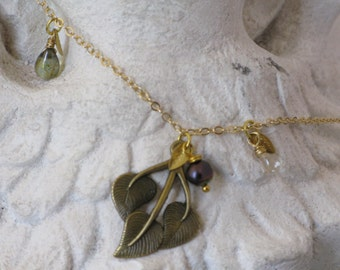 Bronze Leaf Necklace with Two Czech Handblown Teardrop Accents, Freshwater Pearl,  and Gold-filled Leafs