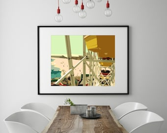 "Modern Wall Art, Mid Century Art Print, Abstract Print, Farris Wheel, Venice Beach, Ocean, California, Colorful Art, ""One from the Top"""